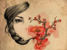 Girl in Cherry Blossom Tree