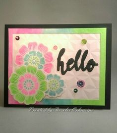 Altenew Hello Die with Hennah Elements stamps and dies, My Favorite Things Geometric Next Level Embossing Folder, Pretty Pink Posh sequins, colored with Gelatos and Gina K black onyx heavy weight card stock.