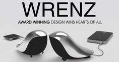 WRENZ - Bird like cute speakers with highly polished aluminum back plate...