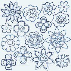 Outline Flower Vector Doodle Design Elements royalty free stockvectorbeelden