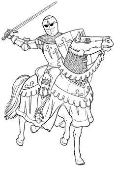 Рыцари. Раскраска со средневековыми рыцарями.