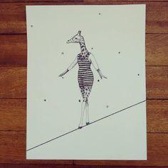 """"""" En la cuerda floja """" rápidografo sobre durex. #Himallineishon #illustration #giraffe #staedler"""