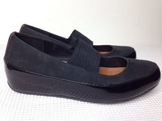 90f60fcb5dd91 EUC Fitflop Mary Jane Slip On Loafers Black Suede Patent Leather Women s Sz  39 8