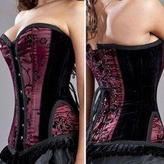 Burgundy-Black-Lace-Victorian-Vintage-Boned-Lace-Up-Corset-Bustier-Overbust-USA