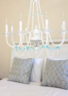 Beaded Chandelier Shabby Chic Beach Cottage Baby Nursery 8 arm Chandelier on Etsy, $150.00