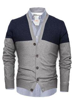MANGO | Cardigan bleu | http://www.rienasemettre.fr/shopping-list/gilet-bleu-gris-bicolore-coton-cardigan-homme-mango-he/