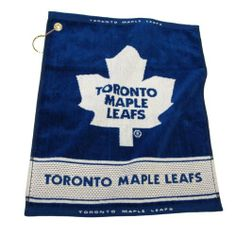 """NHL Toronto Maple Leafs Woven Towel by Team Golf. $17.99. 16"""" x 19"""" woven golf towel. Includes corner hook for easy attachment to the golf bag. Top and bottom hem includes school name. 100-Percent cotton. 16"""" x 19"""" 100-Percent cotton towel includes woven school logo and name, along with top and bottom double jacquard hems with full team name."""