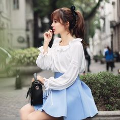 Japanese Fashion- Chiffon lantern sleeve shirt - AddOneClothing - 2