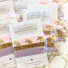 Unicorn Party Favors for Girls, Custom Hair Tie Favors, Pink and Gold Unicorn Birthday Decorations, Girls Birthday Party Favors by PlumPolkaDot on Etsy https://www.etsy.com/listing/489775255/unicorn-party-favors-for-girls-custom