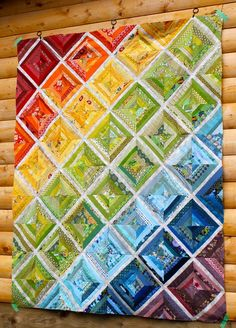 "Scrappy Rainbow String Quilt Top -  the tutorial I used to construct the string blocks over at Film in the Fridge. Or, a similar method is shown in Elizabeth Hartman's book, Practical Guide to Patchwork, under the quilt ""Valentine""."