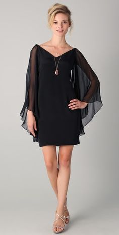 Love this as a bridesmaid dress, so modern wearing black nowadays; Marchesa NotteChiffon Sleeve DressStyle #:NOTTE40042
