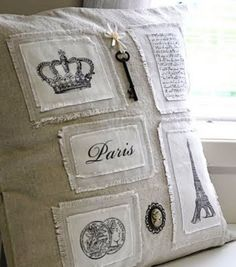 Pillow ~ inspired by Coco Chanel. Shabby and Chic. Sewing Pillows, Diy Pillows, Linen Pillows, Decorative Pillows, French Pillows, Decoration Shabby, Ideias Diy, Shabby Vintage, Vintage Paris