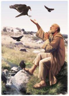 Partiu, pois, e fez conforme a palavra do Senhor; foi habitar junto ao ribeiro de Querite, que está ao oriente do Jordão. E os corvos lhe traziam pão e carne pela manhã, como também pão e carne à tarde; e ele bebia do ribeiro. (1 Reis 17.5-6)