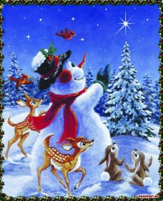 Snowman and animals
