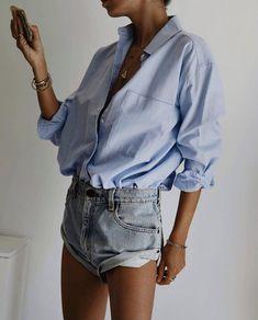 Looks Instagram, Australian Fashion, Minimalist Fashion, Minimalist Style, Party Fashion, Denim Skirt, Ruffle Blouse, Shorts, My Style