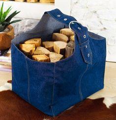 denim bag for logs-