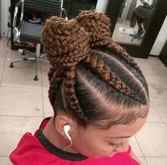 Braided Cornrow Hairstyles, Afro Hairstyles, Black Girl Braids, Girls Braids, Braided Space Buns, Pigtail Buns, Natural Hair Styles, Short Hair Styles, African Braids