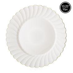 Elite Selection Pack of 50 Dinner Plates Ivory Cream Color With Gold Flower Rim 10.25-Inch #plastic #wedding #plates #bulk
