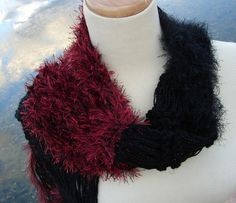Red 'n Black Hand Knit Scarf by ArlenesBoutique on Etsy, $45.00