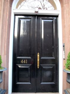 glossy black front doors