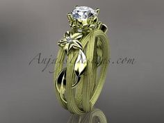 """14kt yellow gold diamond floral, leaf and vine wedding ring, engagement ring with a """"Forever One"""" Moissanite center stone ADLR253"""