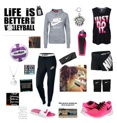 """Volleyball tryouts this week"" by sarahkaczy ❤ liked on Polyvore"