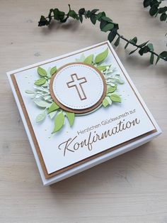 First Communion Cards, Kraft Paper, Stamping Up, Box, Gift Wrapping, Homemade, Gifts, Etsy, Scrap