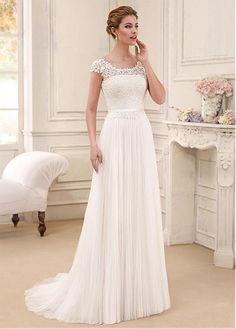 Delightful Tulle & Lace Scoop Neckline A-Line Wedding Dresses
