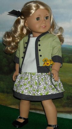 Lanie green 1 by Sugarloaf Doll Clothes, via Dress Sewing Doll Clothes, American Doll Clothes, Sewing Dolls, Girl Doll Clothes, Girl Dolls, American Dolls, Ag Dolls, Girl Inspiration, Girl Fashion