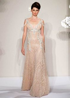 Pnina Tornai blush lace sheath