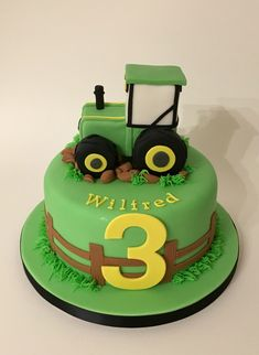 2nd Birthday Cake Boy, Tractor Birthday Cakes, Blue Birthday Cakes, Baby Dedication Cake, Farm Cake, Birthday Cake Decorating, Celebration Cakes, Themed Cakes, Party Cakes