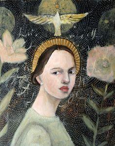 Shop gallery quality art prints by Misty Mawn. Madonna, Altered Book Art, Art For Art Sake, Portrait Art, Portraits, Sacred Art, Religious Art, Figurative Art, Mixed Media Art