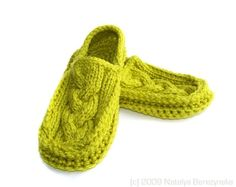 Knit Crochet Cabled Moccasin Slippers Lime Green by natalya1905