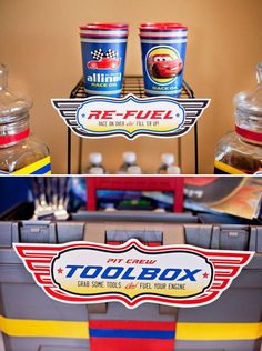 Cars Themed Free Printables for a refueling station and a Toolbox and utensils