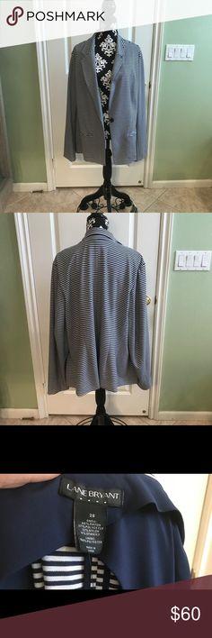 Lane Bryant Blue Striped Blazer NWT Brand new never worn. Soft and stretchable Lane Bryant Jackets & Coats Blazers