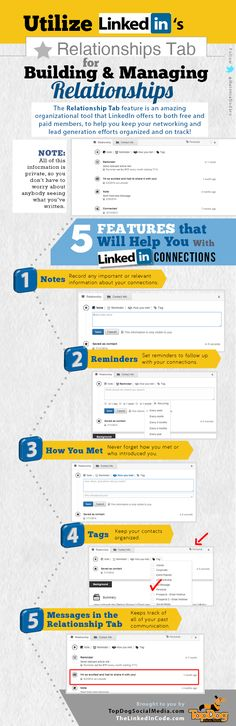 linkedin relationship infographic - How to keep up with your connections so you can follow up later.