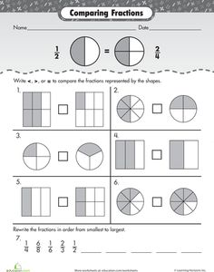 math worksheet : comparing fractions fractions worksheets and fractions on pinterest : Fractions Worksheets 2nd Grade