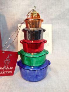 Landmark Creations Christmas Stacked Pots & Pans Handblown Hand Painted Ornament #Christmas #Ornament