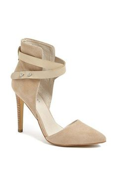 nude sueded ankle strap pumps