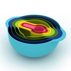 Joseph Joseph 40086 Nest 8 Compact Nesting Food Prep Set Mixing Bowls Measuring Cups Sieve Colander Plastic Dishwasher Safe Non-Slip, Multicolored: Kitchen Tool Sets: Kitchen & Dining Moma Store, Green Label, Apartment Needs, Apartment Kitchen, Apartment Living, Joseph Joseph, Nesting Bowls, Mixing Bowls, Kitchen Gadgets