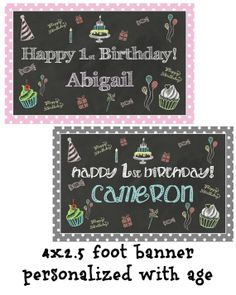 Chalkboard Banner Medium 4x2.5 Feet Party Sign by TwoLaughingLambs, $7.50
