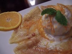 Crepes Suzette with Orange Sauce and Ice Cream
