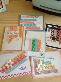 handcrafted notecard set ... Washi Tape designs .. luv the variety and colors ... from KikikinsDesigns on Etsy ...
