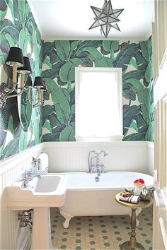I always love a good bathroom Palm Print. Maybe for guest house bathroom, eventually.