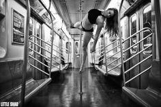 """Marlo Fisken in NYC Subway by Little Shao"" by Little Shao"