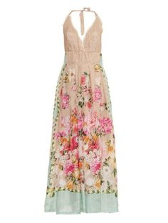 Floral and butterfly-print silk maxi dress | Emamò | MATCHESFASHION.COM US