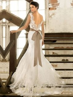 Trumpet/Mermaid Off-the-shoulder Lace Satin Chapel Train White Sashes / Ribbons Wedding Dresses at Millybridal.com