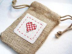 Heart Gift Bag Burlap Gift Bag Party Favor Bag by WitsEndDesign, $4.00
