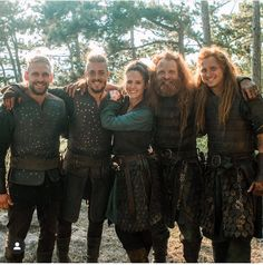 Alexander Dreymon as Uhtred on the left), Emily Cox as Brida and Magnus Bruun as Cnut on the right) with the boys' stunt doubles in The Last Kingdom Season 4 The Last Kingdom Actors, Uhtred Of Bebbanburg, Alexander Dreymon, Stunt Doubles, All Smiles, Music Tv, Period Dramas, Great Movies, Favorite Tv Shows