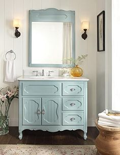 "42"" Victorian Cottage Light Blue Knoxville bathroom sink top and sink included 42 x 21 x 35 inches"